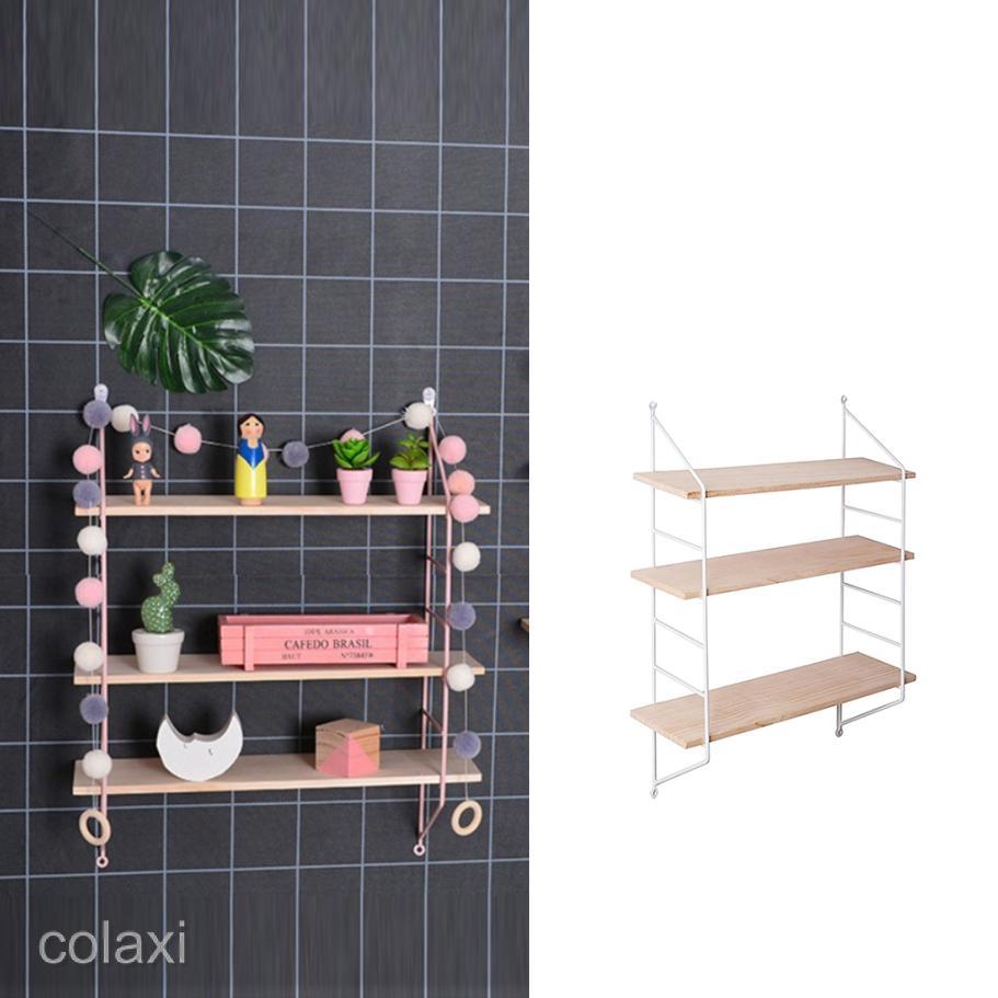 sale retailer 0a469 10b2c 3 Tier Retro Wall Hanging Wall Shelf Wooden Floating Display Shelves