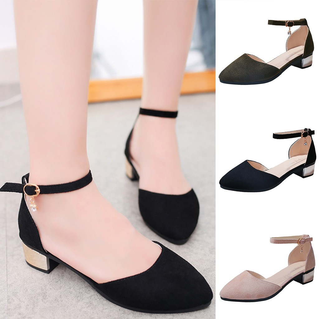 detailing various colors top design Women Casual Solid Pointed Toe Med Heels Square Heels Shoes Sandals