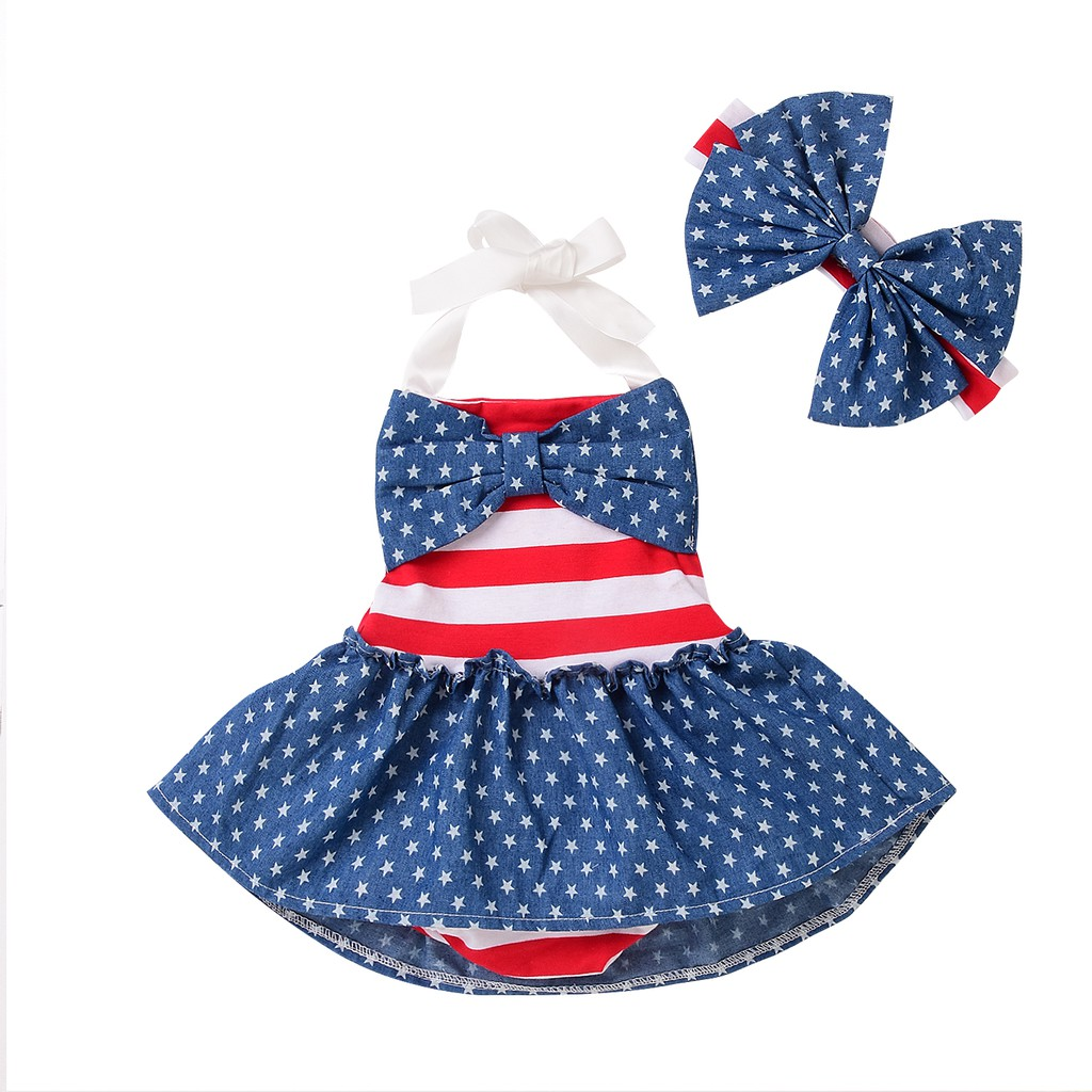 Infant Toddler Girl American Flag Holiday Dresses Short Sleeve Stars Print Dress+Headbands Set Outfit