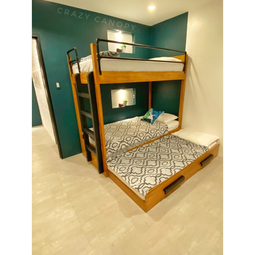 Bunk Bed Double Deck Bed Wooden Double Deck With Pull Out Bed Shopee Philippines