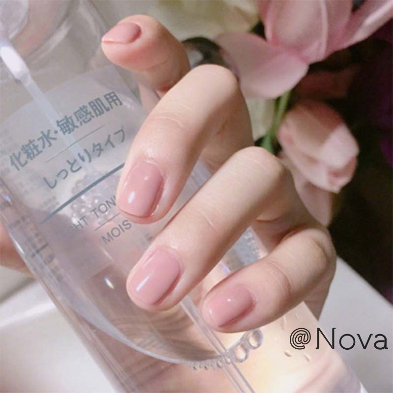 Light Pink Candy Fake Nails Short Round Soft Pre Designed Nail Tips