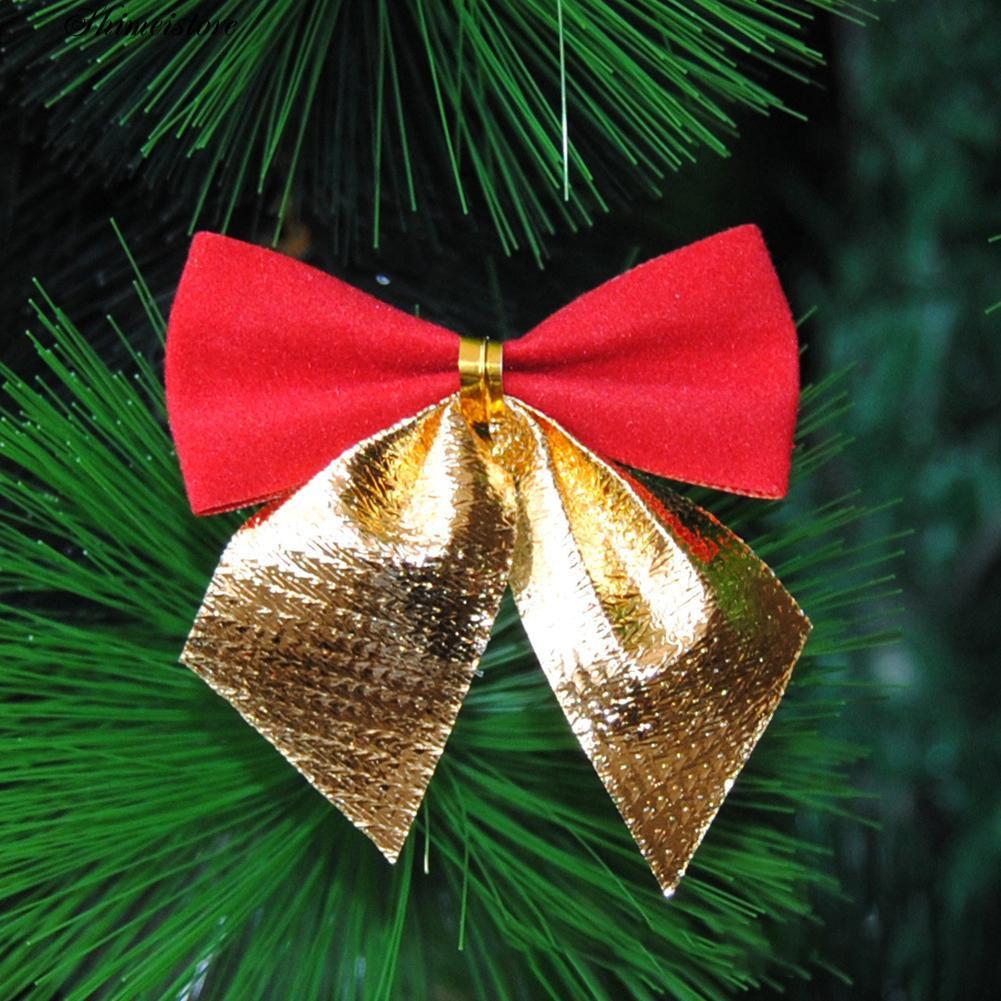 Christmas Tree Bow.12pcs 6cm Christmas Tree Bow Bowknot Xmas Garland Party Beauty Decoration