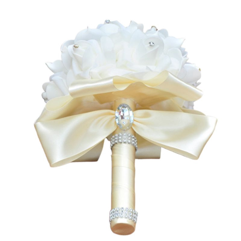 100 Ivory Pale Cream Wedding Rose! 10mm Gorgeous Satin Ribbon Roses