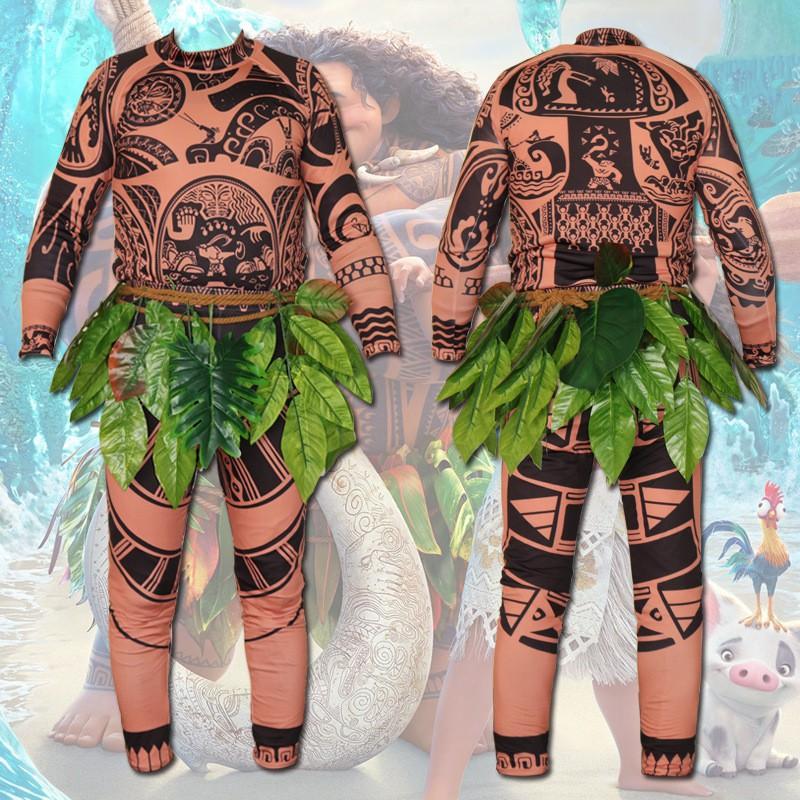 Mens Moana Maui Fancy Dress Costume Moana Maui Costume Maui Tattoo Shirt Pants