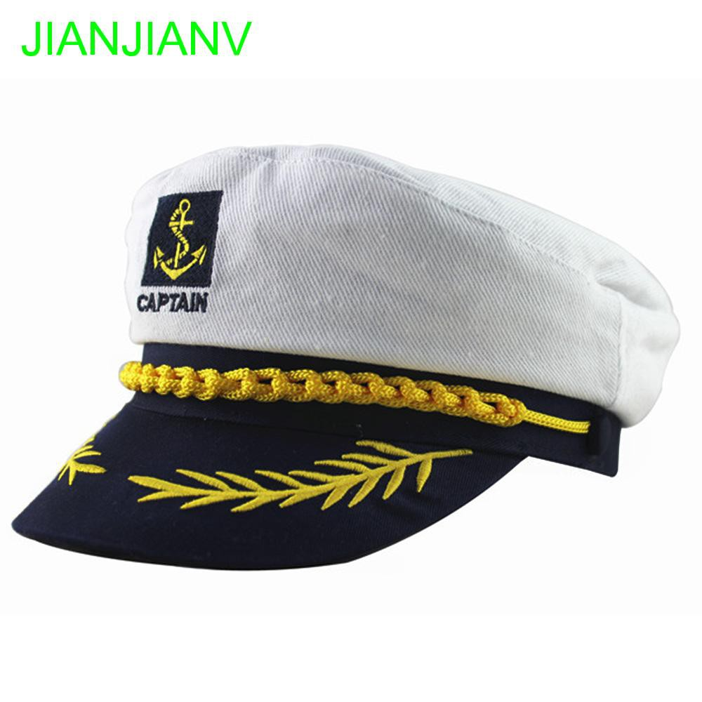 9615f1844e12a Sailor Marine Yacht Skipper Ship Military Nautical Hat White Navy Cap  Captain