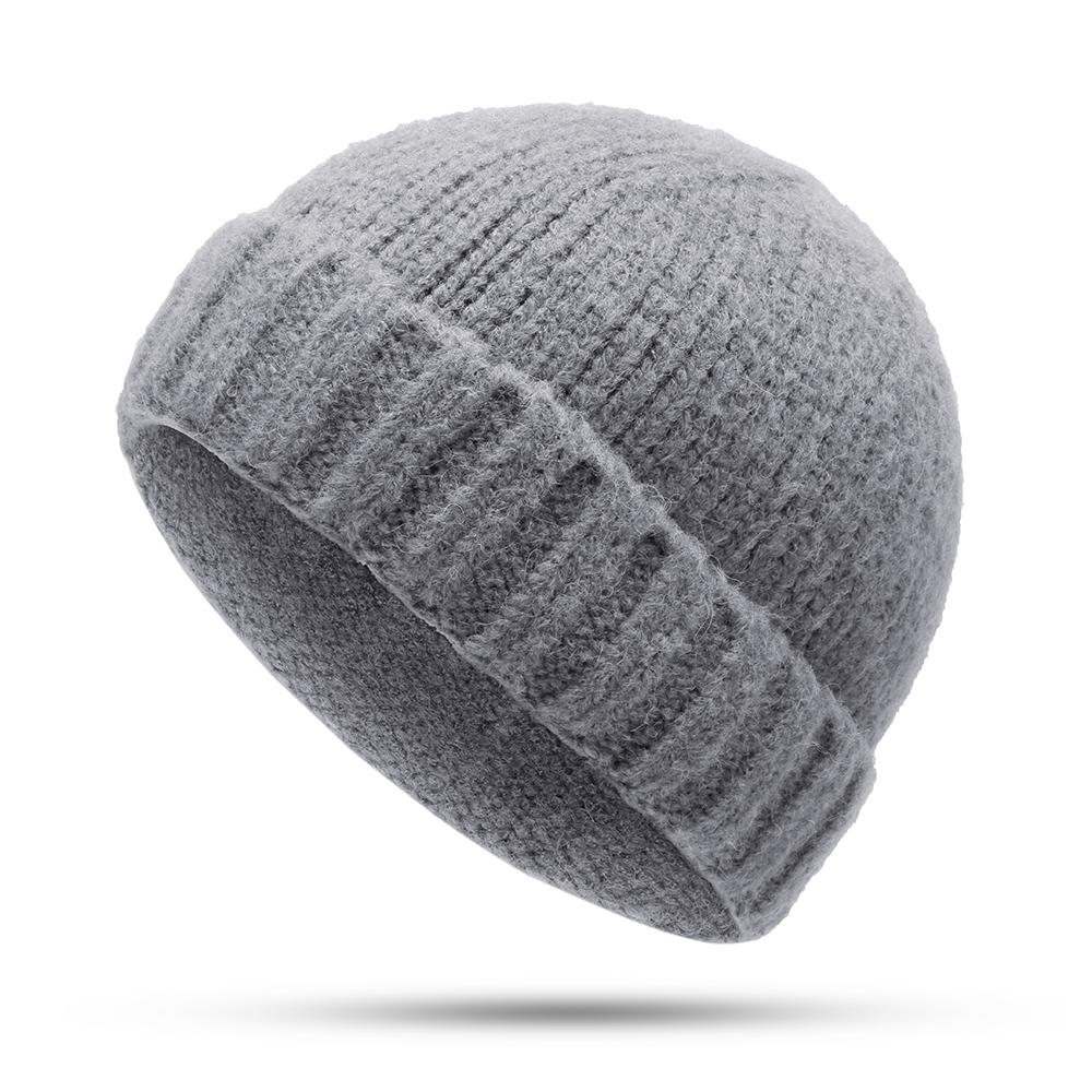 bb263c118 Men Women Vogue Wool Knit Brimless Cap Skull Cap Wild Warm