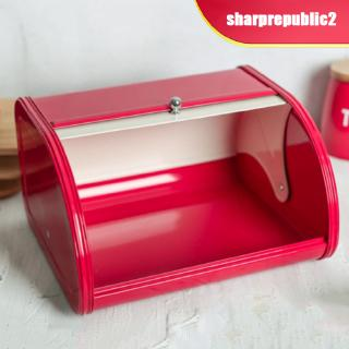Food Storage Containers Metal Bread Box With Roll Up Lid Kitchen Counter Storage Bread Bin Holder Home Garden