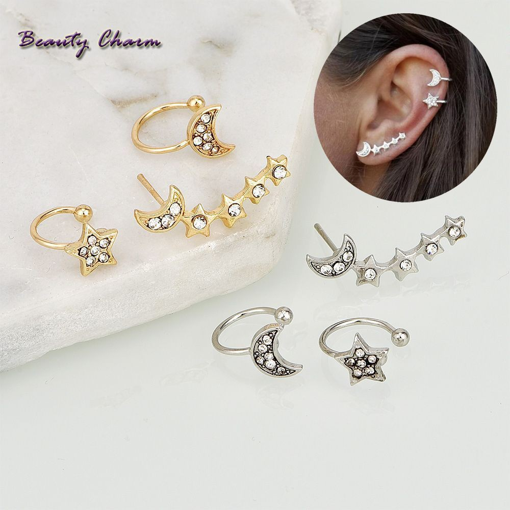 3pcs Set Earrings Ear Stud Star Moon Shape Rhinestone Gifts