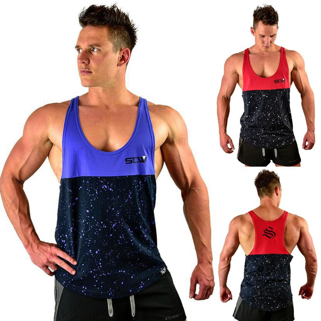 Mens Gym Vest Sports Stringer Tank Top Relaxed T Shirt Bodybuilding Racer Back