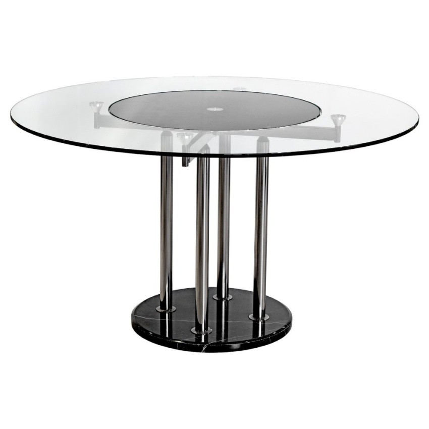 Round Glass Dining Table With Lazy Susan For 6 Seaters Shopee Philippines