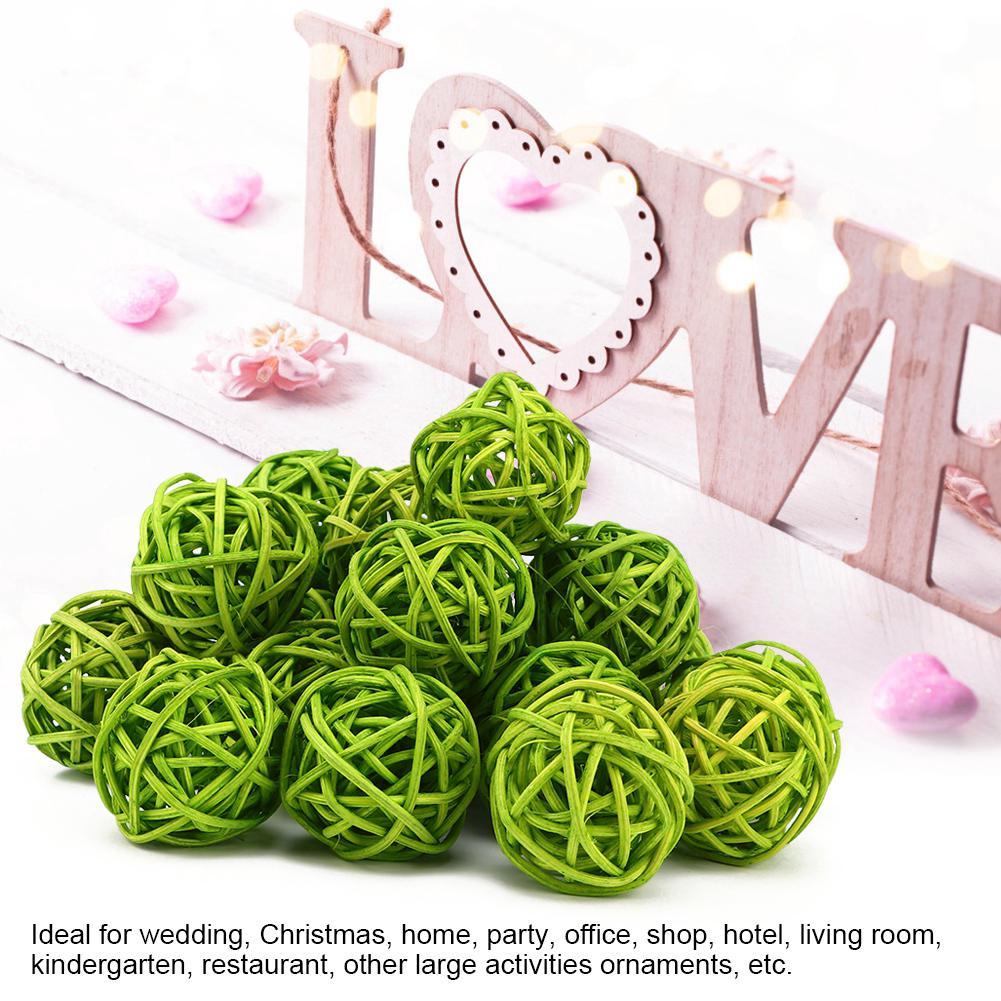 20 Pcs 3cm Rattan Ball Christmas Hanging Ornament Birthday Party Wedding Decor