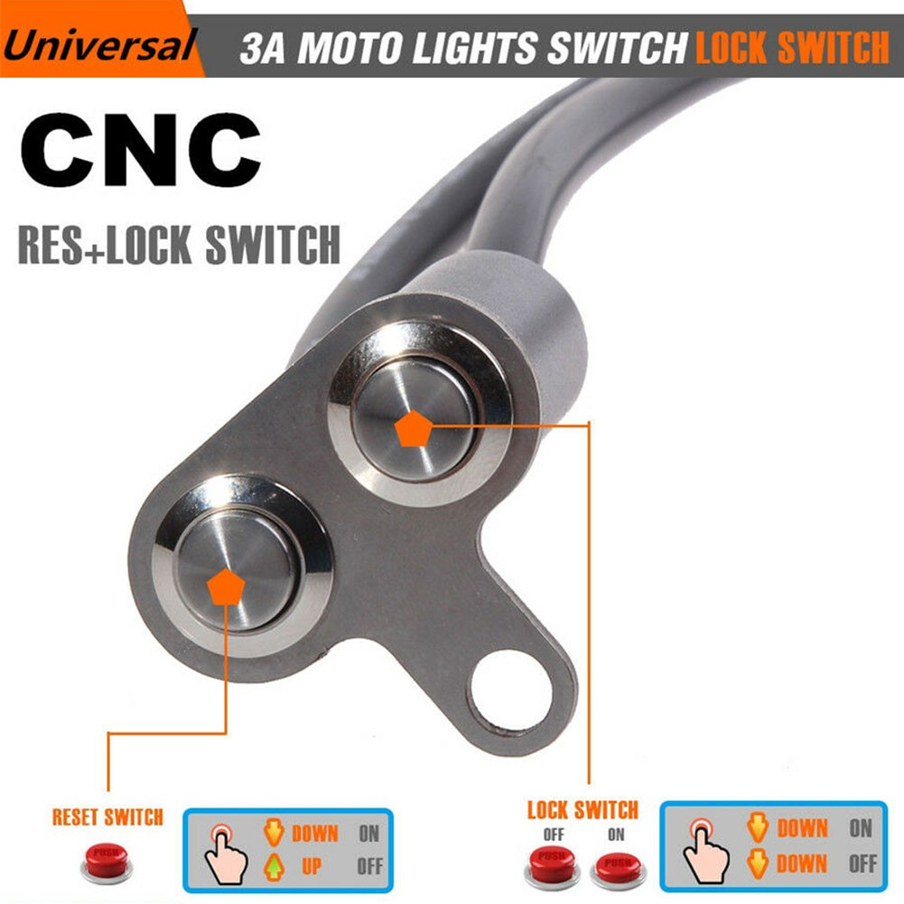 "Lock Button Cafe Race Universal 1/"" CNC Motorcycle Handlebar Switch Self Reset"