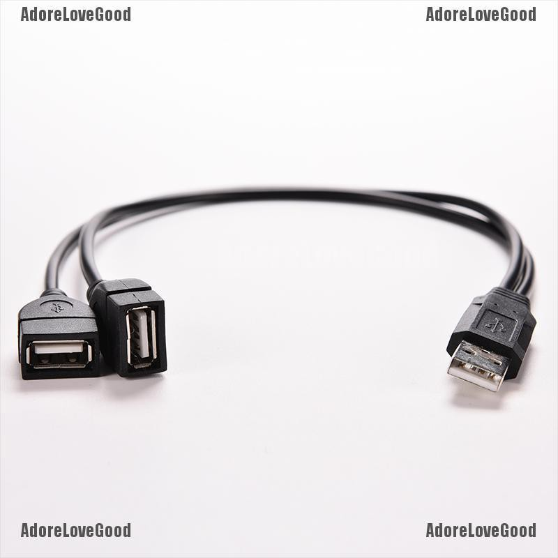 1x USB2.0 A Male To 2 Dual Female Y Splitter Hub Power Cord Adapter Cable A