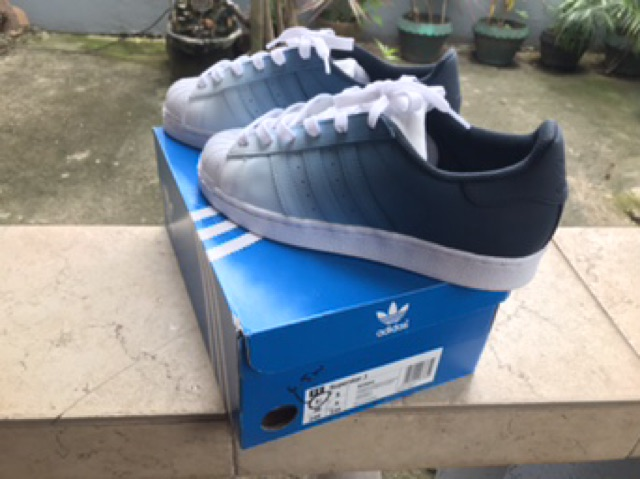 ADIDAS SUPERSTAR NAVY BLUE CUSTOM SNEAKERS OMBRE DESIGN