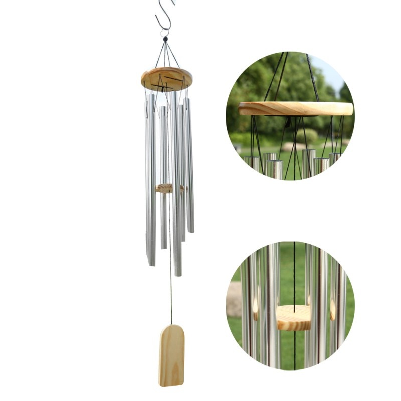 Beautiful Wooden Wind Chime With Metal Tubes Outdoor Garden Hanging Decor 37cm