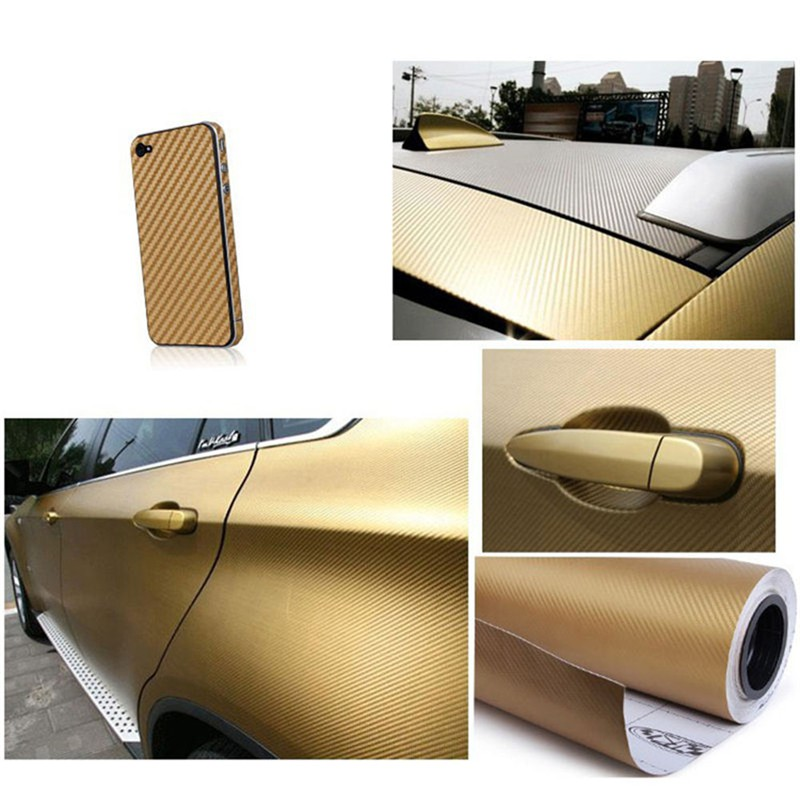 "12/""x50/"" 3D Black Carbon Fiber Vinyl Car Wrap Sheet Roll Film Sticker Decal Paper"