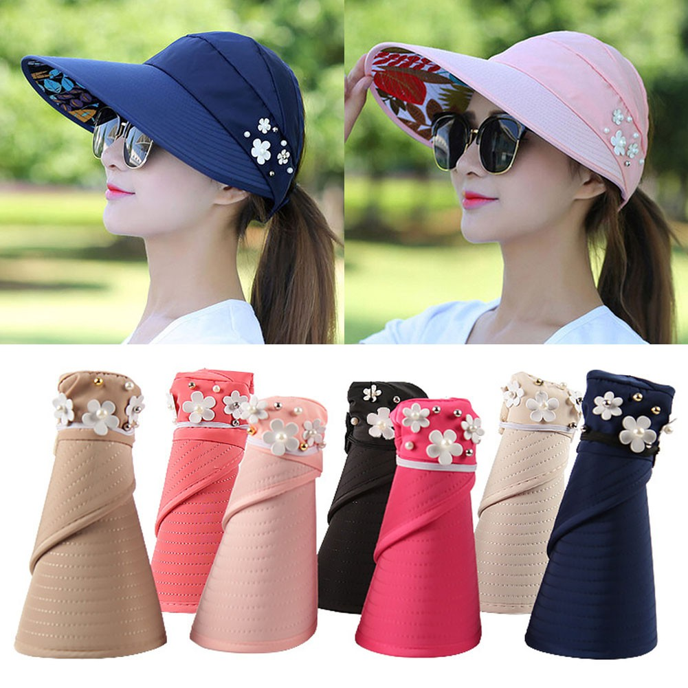 fb3ca56ea8219 Visor Hat Sun Hats Women Brim Straw Sun Hat Folding Beach