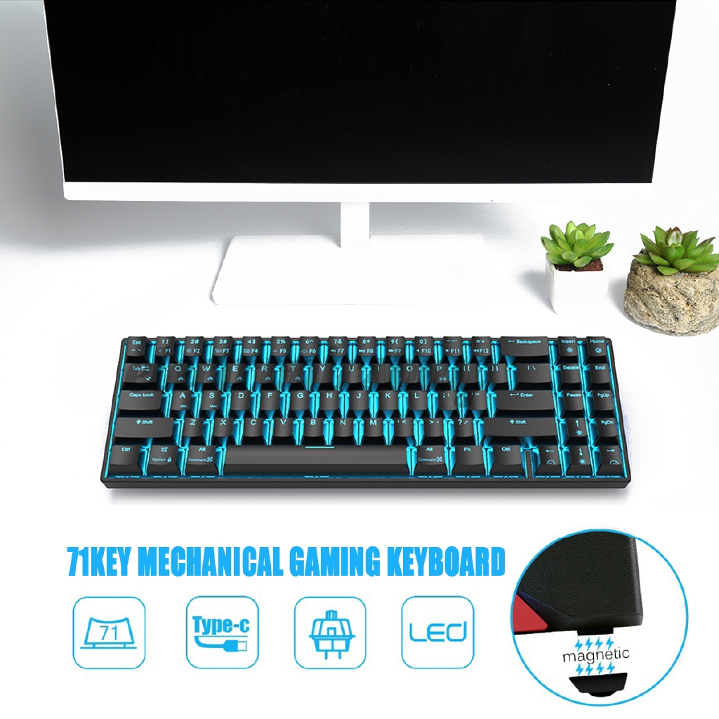 Mechanical Keyboard Mechanical Gaming Keyboard 71 Keys Dual Mode Bluetooth 3.0 USB Wired Gaming Keyboard Color : Black, Size : Brown Switch