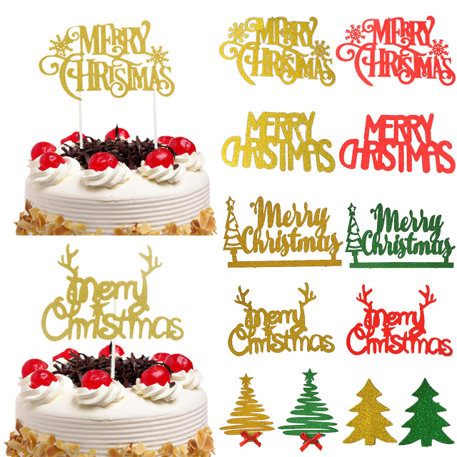 Merry Christmas Cake Topper Cupcake Toppers Flags Diy Cake Decoration Shopee Philippines