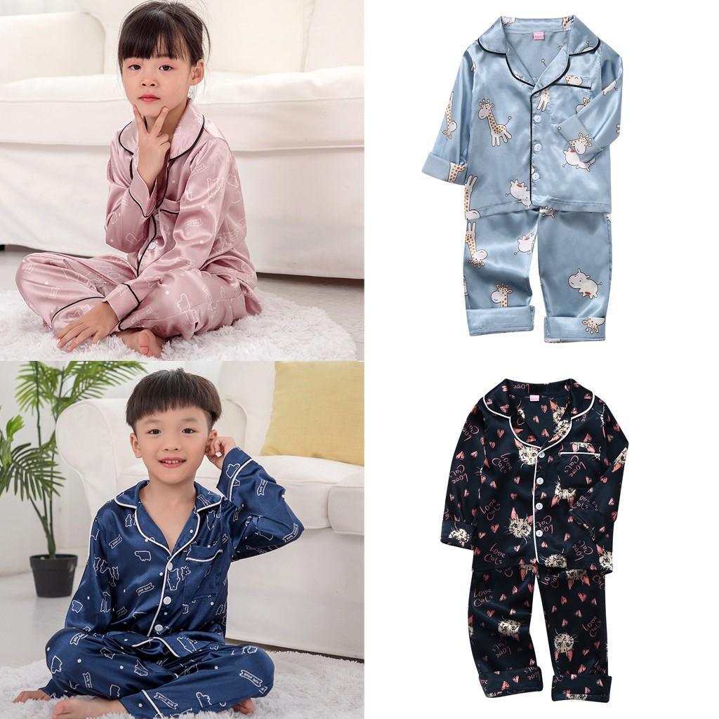 Toddler Kids Baby Boys Girls Cartoon Animal Tops+Pants Pajamas Sleepwear Outfits