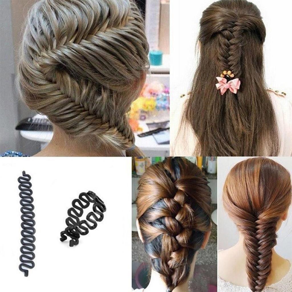 French Hair Braiding Tool Roller With Hook Magic Hair Twist Stylin Bun Maker BLK
