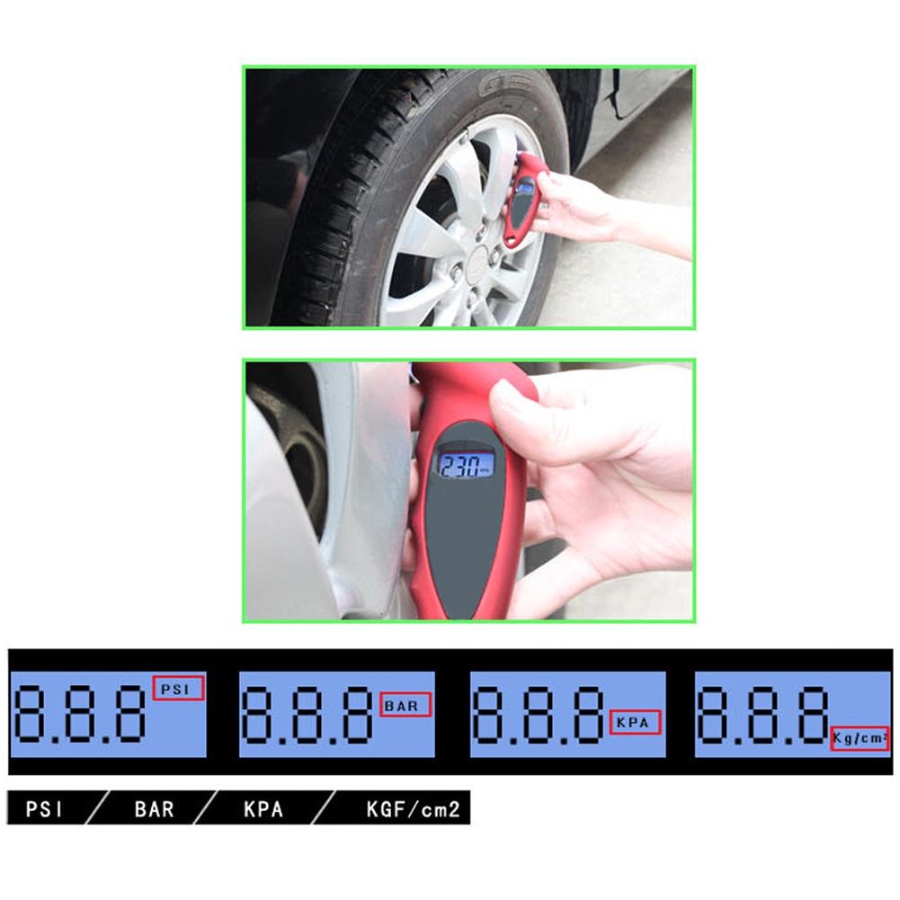 ♚ Digital Tire Pressure Gauge Backlit Lcd Non-slip Grip Digital Display  Pressure Detector