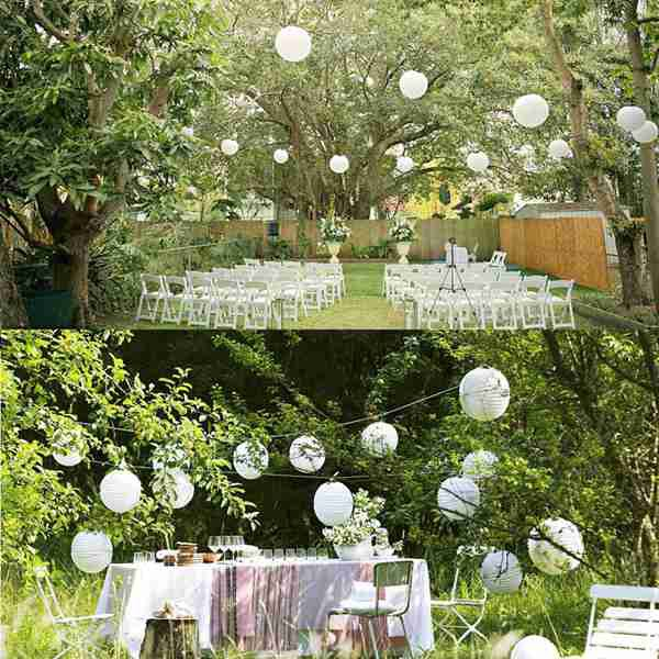 Wedding Decoration 6 White Paper Lanterns and Fans White Party Decorations