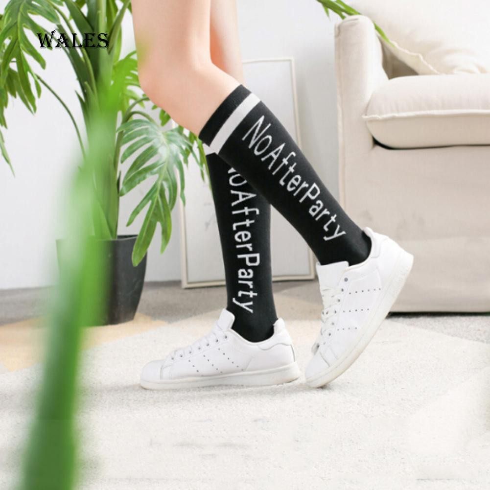 NO AFTER PARTY COUPLE LETTER BELOW KNEE SOFT WARM BASEBALL AUTUMN SOCKS NICE