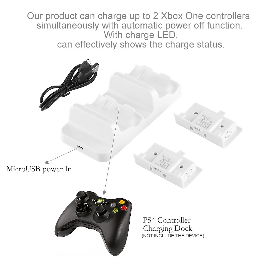 geeka-Dual Charging Dock with 2 Battery Pack For Xbox One S
