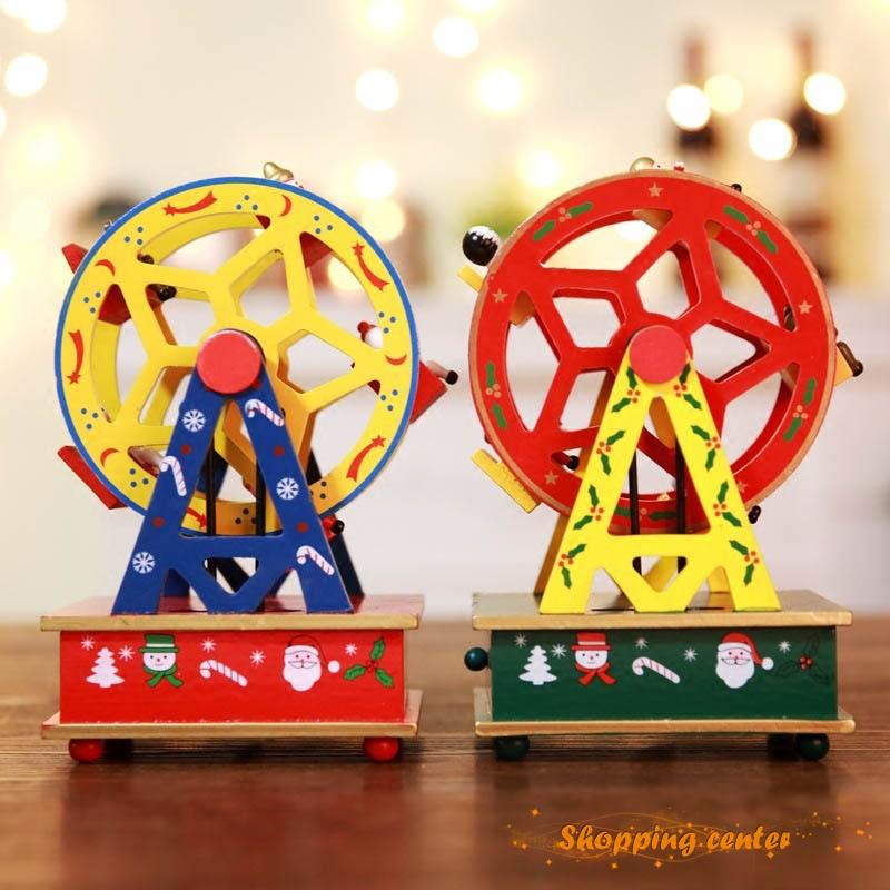 Christmas Ferris Wheel Music Box.Sc Christmas Ferris Wheel Figurines Music Box Clockwork Wind Up Toys Xmas Decor Kids Gifts