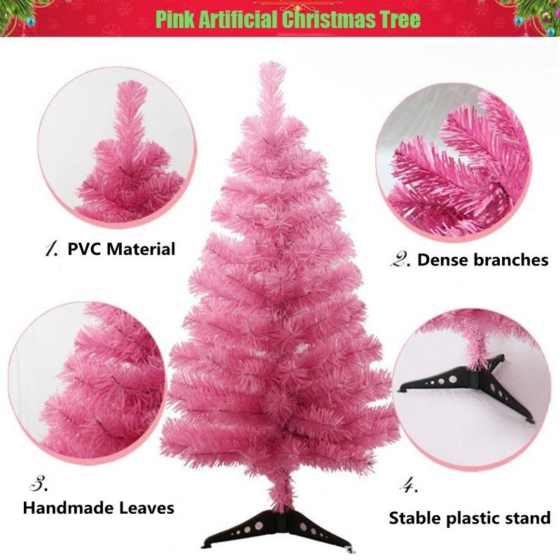 Pink Artificial Christmas Tree.Lovepink Artificial Pine Trees Diy Christmas Tree Home Garden