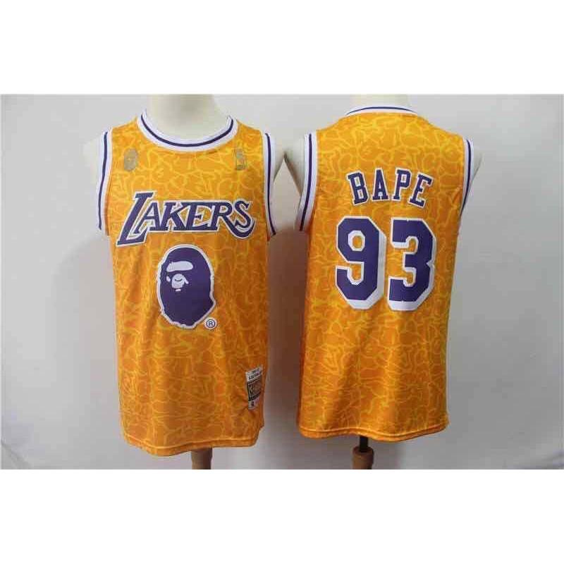 b311bffdaf3 NBA Los Angeles Lakers 93 BAPE Basketball Jersey | Shopee Philippines