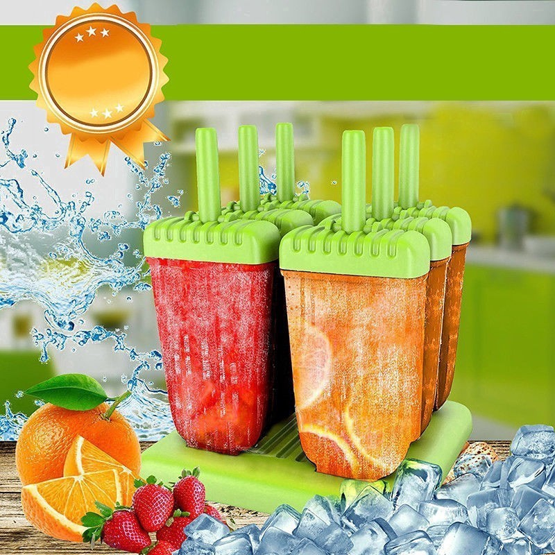 6x Ice Lolly Cream Maker Mold DIY Popsicle Mould Frozen Popsicle Yogurt Icebox