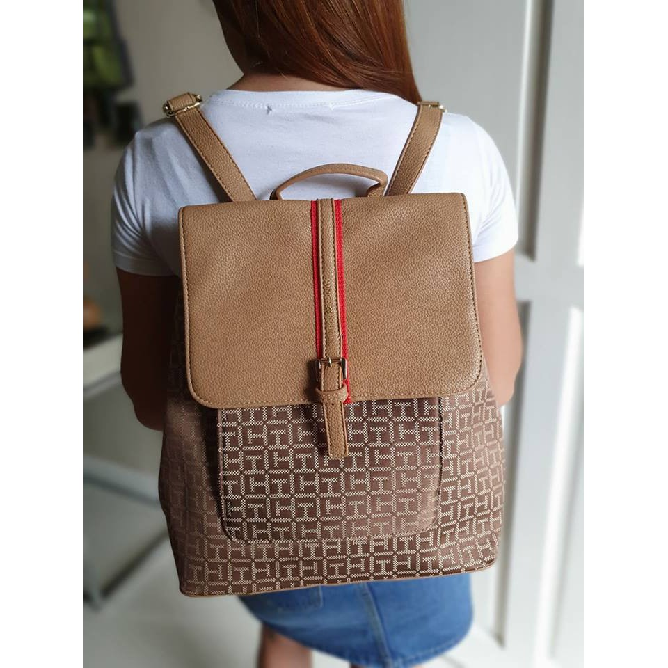 Tommy Hilfiger Brown Women's Fashion Backpack   Shopee Philippines