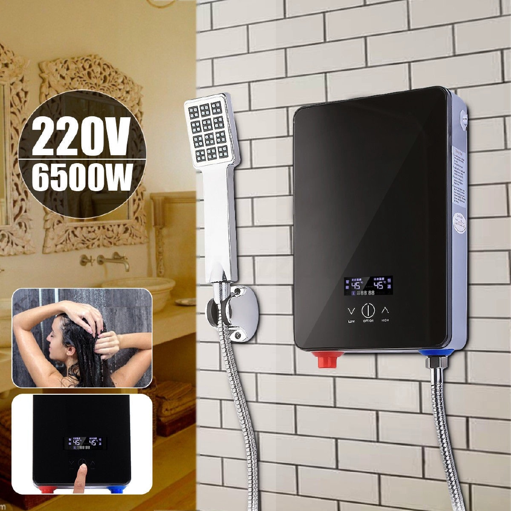 6.5KW 220V Tankless Instant Hot Water Heater Bathroom Shower 30-55℃ Adjustable