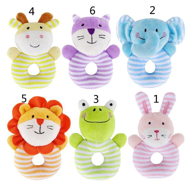 1PC Newborn Infant Baby Rattles Ring Plush Toys Handbell Grab Soft Toy T