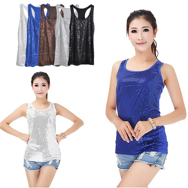 Sexy Lady s Camisole Spangle Sequin Sparkle Shell Tank Top Vest Sleeveless T -Shirt  2bd44fa2aa0f