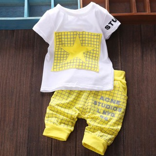 db66f37424939 Kiss】Fashion Boys Clothes Suit Five-pointed Star Print T-Shirt + ...