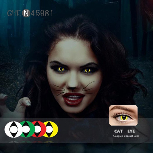 1 Pair Cat Eyes Cosplay Color Contact Lens Halloween Contacts Yearly Use Shopee Philippines