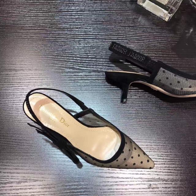 4ae99b4db49 Christian Dior Nude Black Dotted Slingback Sandals