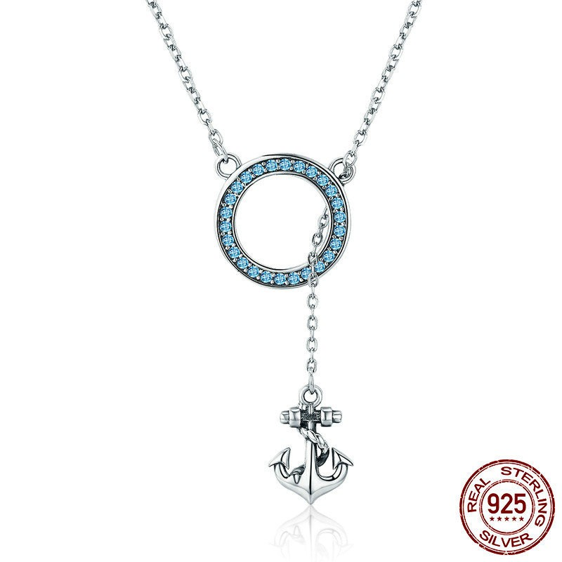 """925 Sterling Silver ladies charm necklace pendant 18/"""" chain hope om anchor"""