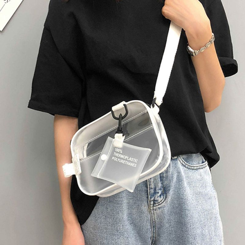 Transparent PVC Shoulder Bag Women Girls Satchel Purse Crossbody Tote Handbag