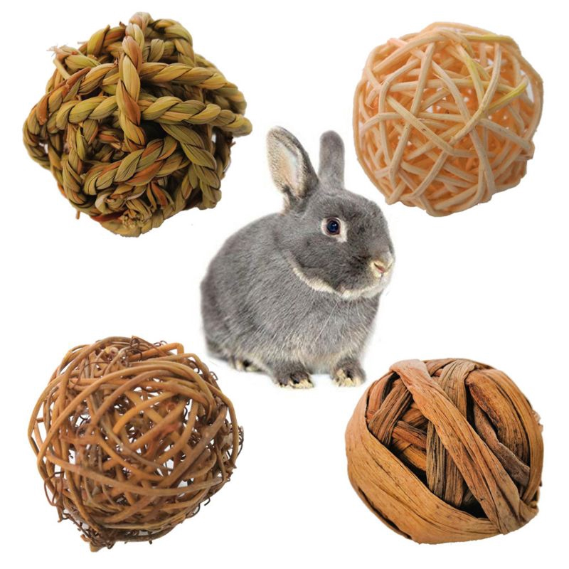 Rabbit Rattle Rings Toy Pet Bunny Guinea Pig Natural Wood Chew Accessory