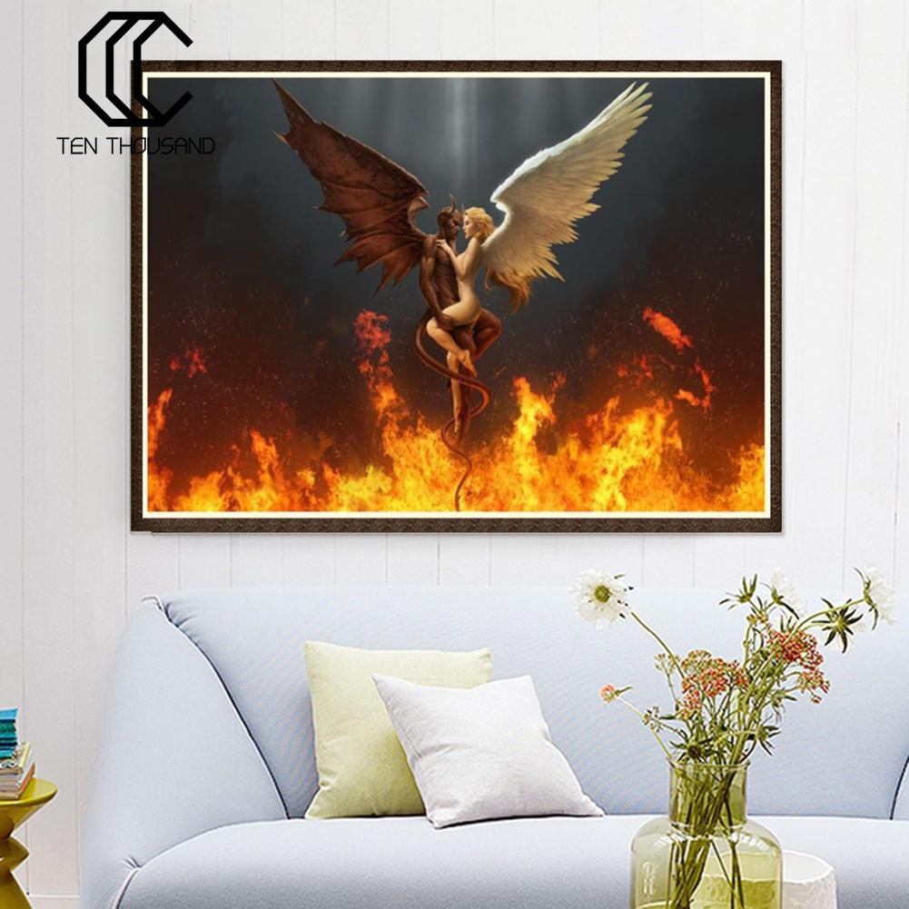 May Trees Diamond Painting Full Drill 5D Diamond Painting Kit Angel Devil Fall in Love Arts Craft for Home Wall Decor Gift DIY Painting by Diamonds