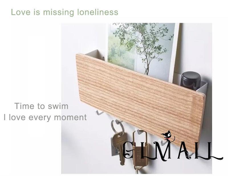 ➤GMLStorage Rack Small Household Wall Mounted Wooden modity Shelf Storage Shelf Black White i