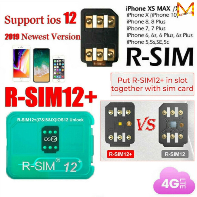 RSIM 12+ Plus 2019 R-SIM Nano Unlock Card fits iPhone X/8/7/6/6s 4G iOS 12 3
