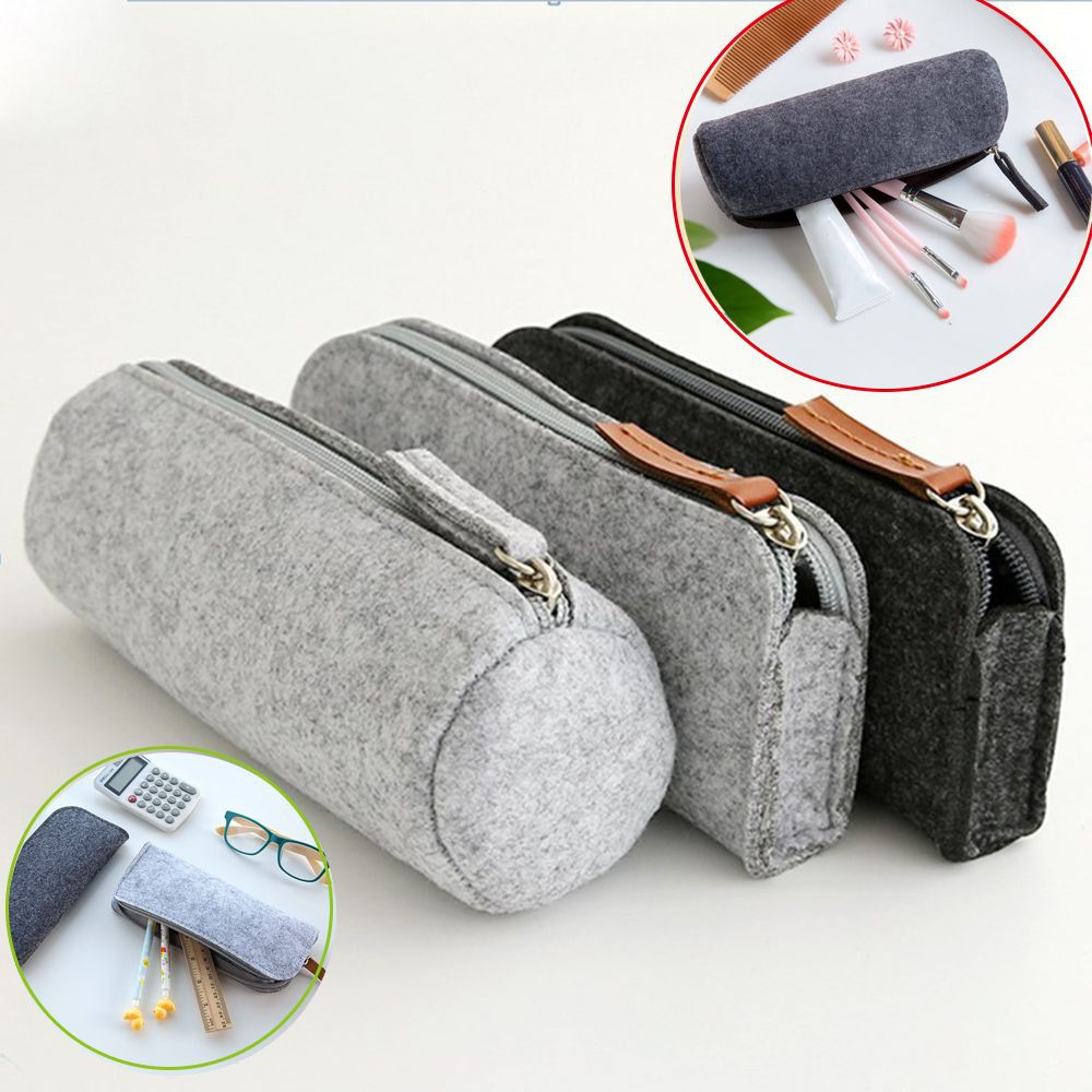 869e966b50e6 Storage Pen Bag Zipper Purse Felt Pencil Case Makeup Pouch