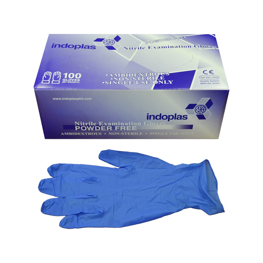 Indoplas Nitrile Examination Gloves Box Of 100 Medium