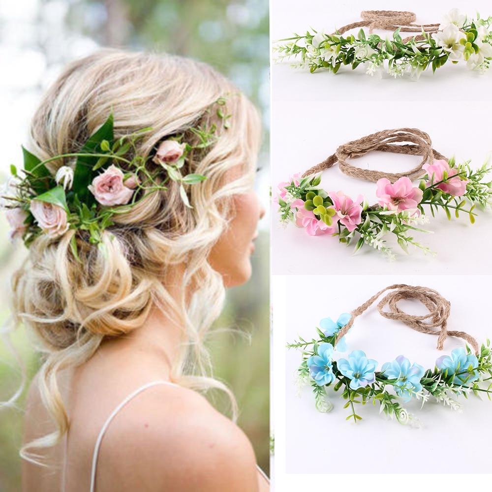 Flower Garland Headband Hair Elastic Summer Festival Hippy Floral