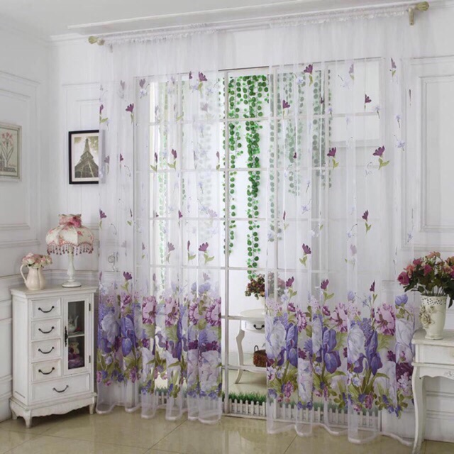 Home Curtain Printed Floral Flower Sheer Window Curtains